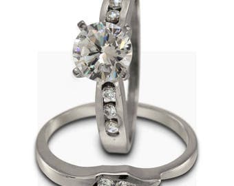 Diamond Engagement Ring 1 Carat 14k White Gold Curved Band And 0.25ctw Diamonds
