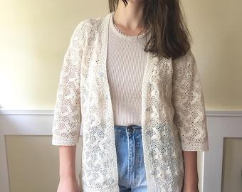 Bohemian 1970s vintage cardigan, cream, crochet style, bohemian bride, vintage top, oatmeal, button up, boho, lace blouse, woman's top