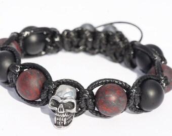Bracelet skull steel stainless/Agate/Jasper/bracelet black Agate/skull/skull head