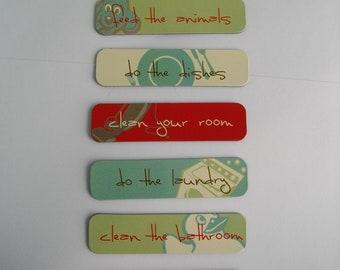 Chore Magnets, Chore Labels for Boards or Fridge Magnets, 7 Chores Magnet Set