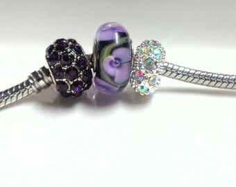 3 Purple European beads - Crystal barrel - Murano glass bead - rhinestone rondelle - large hole