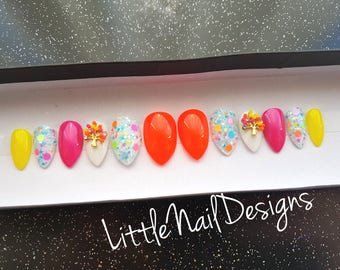 Hand painted neon colour false nails