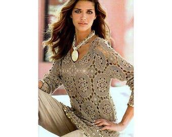crochet tunic pattern,crochet top pattern,lace beach tunic PDF,crochet cover up pattern,crochet blouse pattern,crochet pullover tutorial