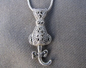 sterling silver and marcasite cat pendant