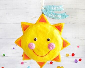Personalized Baby Boy Gift, New Born Sun Decoration, Sun Ornament, Nursery Sun Decor, New Born Boy Gift, Paper Mache Sun, Sun Sculpture