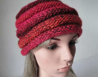 burgundy multi cap, beehive hat size M-L, vegan knit beanie, chunky knitted hat, cerise ombre cap, woman beehive hat, multi-color beanie