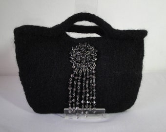 black felt clutch bag, purse with brooch, day to evening purse, versatile accessory, wool knit felt bag, bag with bead tassel, evening bag