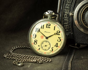 Russian watch Molnija ''ship'' soviet watch Men's pocket watch USSR Working Molnia