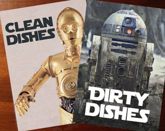 "Star Wars Laminated Reversible Magnetic Dishwasher Sign | Geek Kitchen | Clean Dirty Dishwasher | ""Clean"" C3PO and ""Dirty"" R2D2"