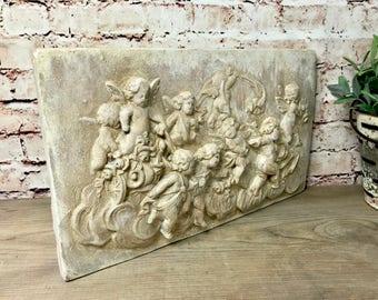 Cherubs Stone Wall Relief Plaque, Putti Sculpture, Putto Sculpture, Renaissance Art, Angels and Cherubs Wall Sculpture, Shabby Cherubs, Q8