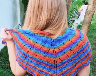 Lace Knit Rainbow Shawlette