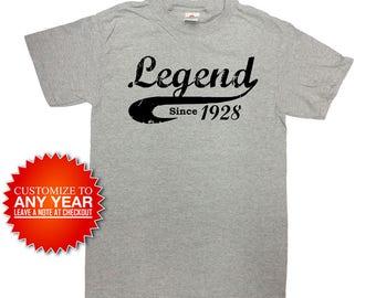 90th Birthday Gift Ideas For Men Custom Birthday Shirt Bday T Shirt Personalized TShirt B Day Present 1928 Birthday Mens Ladies Tee - SA890