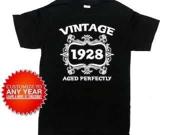 90th Birthday Gifts For Her Birthday Present Bday Gift Ideas For Men Custom Shirt B Day T Shirt B-Day 1928 Birthday Mens Ladies Tee - SA983