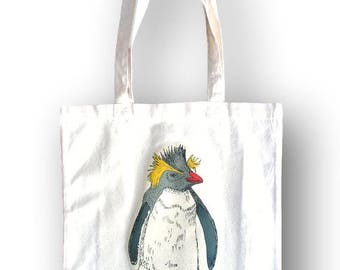 Penguin Tote Bag, Mother's Day Gift, Grocery Bag, Reusable Bag, Cotton Bird Bag, Penguin Gift, Birthday Gift, Gift For Her, Eco Bag, Penguin