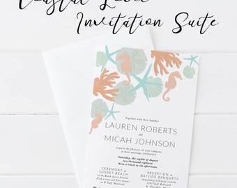 Beach Wedding Invite, Wedding Invitation, Beach Invitation, Starfish Wedding, Ocean and Sand, Printable Wedding, Destination Wedding,