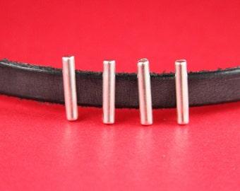 3A/4 MADE in EUROPE 4 zamak slider bars, 10mm flat cord sliders, 10mm leather cord  sliders, zamak sliders (11569-0077) Qty4