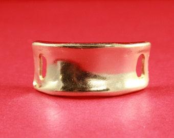 9/6 MADE in EUROPE shiny gold half bracelet, zamak half bracelet, zamak bar for bracelet, zamak connector (ABLZ36G) Qty1