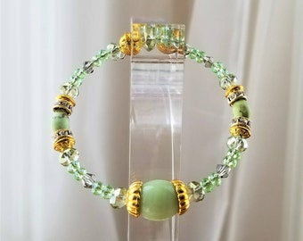 Natural Stone Bracelet, Bangle, Gold Plated, Natural and Swarovski Crystal
