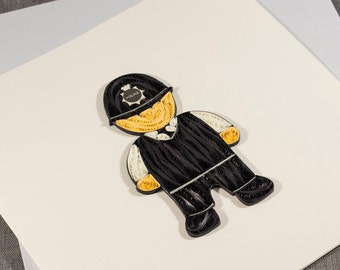 3D Blank Quilled Police Cop London Quilling Card