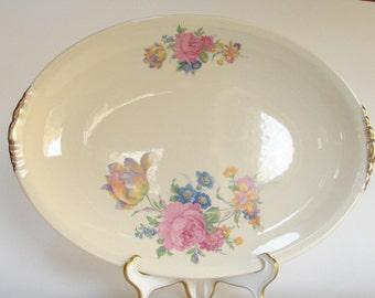 Paden City Pottery Rosalee Floral 12 Inch Serving Platter