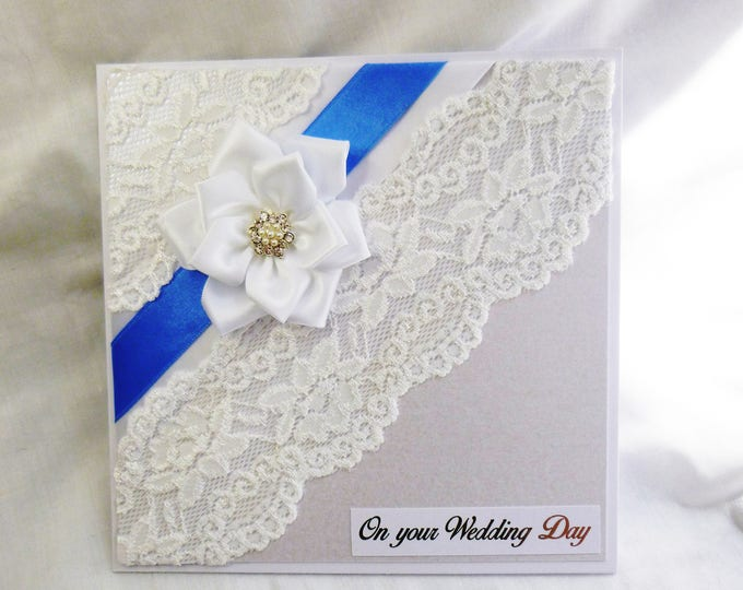 Wedding Day Card, Wedding, Special Day, Bride and Groom, Mr and Mrs, Lace and Ribbon