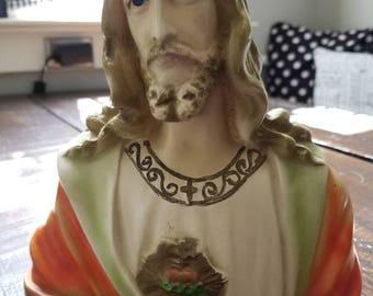 Vintage Chalkware Bust of Jesus....Sacred heart...sculpture.