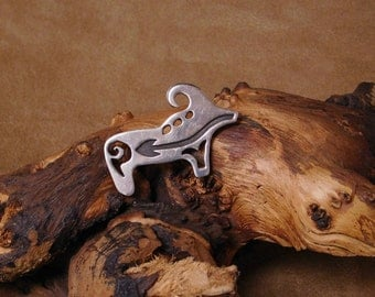 Sterling Silver Detailed Ram Brooch