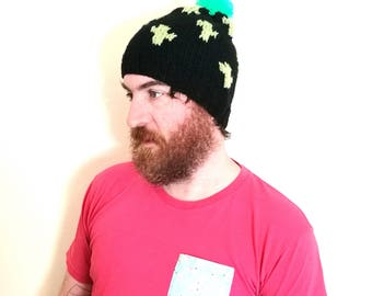 Cactus hat. Handmade chunky knit green and black bobble hat/beanie