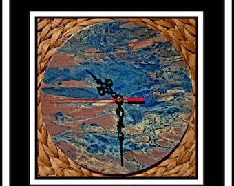 Clock Acrylic Fluid Art Painting