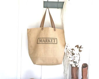 Market Tote Bag | Waterproof Tote Bag With Zipper | Oversized Jute Bag | Birthday Gift for Women | Large Burlap Tote | Unique Gift for her