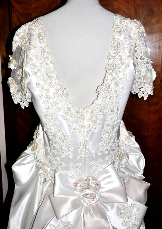 Vintage White Satin Applique Pearl Wedding Gown With Long