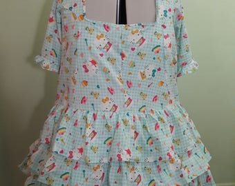 Handmade Lolita Dress - Plus Sized - Made To Order - 3 Tier Ruffle Skirt Design - Single Color
