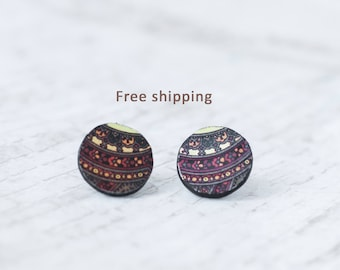 Unusual earrings, Boho stud earrings, Boho earrings, Unusual stud earrings, Hippie earrings, Hippie stud earrings, Bohemian style earrings