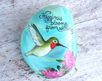 Hummingbird painted rock, hummingbird gift for wife, hummingbird art, hand painted hummingbird stone, hummingbird garden decor, hummingbird