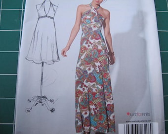 Summer Halter Dress Pattern by New Look 6206 from Project Runway 4 to 16 ( bust 29 1/2 to 38)