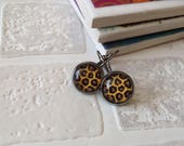 Animal print glass cabochon earrings | Leopard print | Gunmetal earrings| Made in the UK | ready to ship