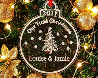 Personalised Our First Christmas Snowflake Bauble Tree Decoration, Your 1st Xmas Together Engraved Personalized Keepsake Ornament, Gift Bag
