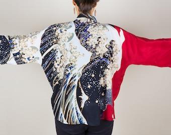 Kimono Jacket, Silk Kimono, Wave Kimono Jacket, Kimono Cardigan, Kimono, Unique Clothing, Summer Kimono, Short Kimono, Red and Black Kimono