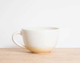 Yellow Dipped White Ceramic Coffee Cup by Barombi Studios