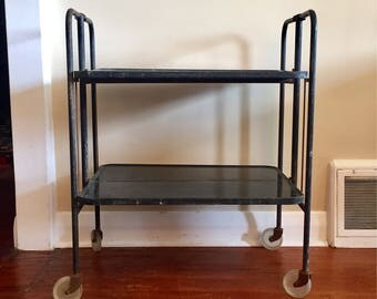 Mid Century Industrial Metal Bar Cart with Lucite wheels. Industrial Black Cart. Mid Century Cart.
