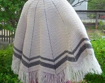 Crochet Handmade Shawl, Cozy shawl, Wrap Shawl, Knit wool Shawl, Gray Shawl, Lace Shawl, gift for her