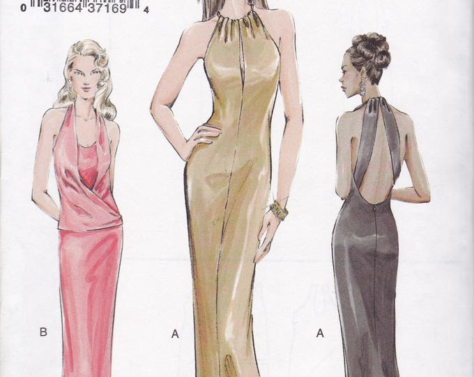 FREE US SHIP Vogue 7797 Sewing Pattern Out of Print Evening Gown Plunging Back Peekaboo Bodice Train Size 14 16 18 Bust 36 38 40 New ff 2003