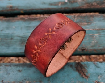 Brown Leather Handtooled Cuff Bracelet, Western, Southwestern, Men's Handmade Jewelry