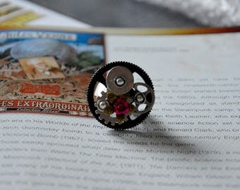 Large Fuchsia mechanisms Steampunk ring