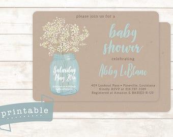 Printable Baby Shower Invitation | Baby's Breath + Mason Jar