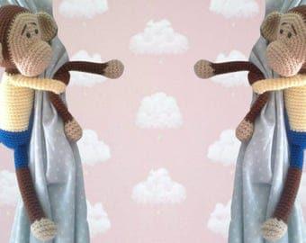 Monkey tie back crochet pattern PDF instant download PATTERN