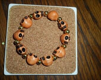 """""""Skull"""" brown elastic bracelet"""