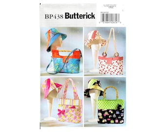 Butterick BP438 Handbags Totes Matching Hats Sewing Pattern Uncut