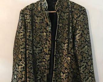 Fancy Chinese gold threaded dragon print jacket