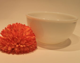 Fire King 8 Inch Milk Glass Beaded Rim Mixing Bowl